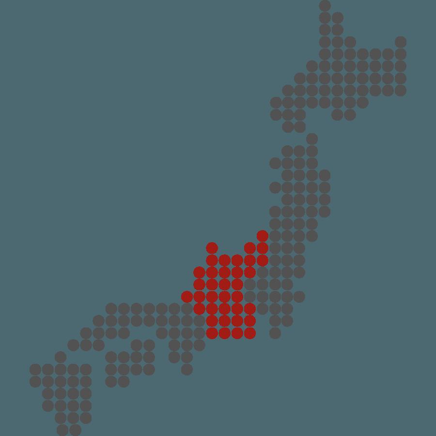 mappa del Giappone stilizzata con evidenziata Chubu