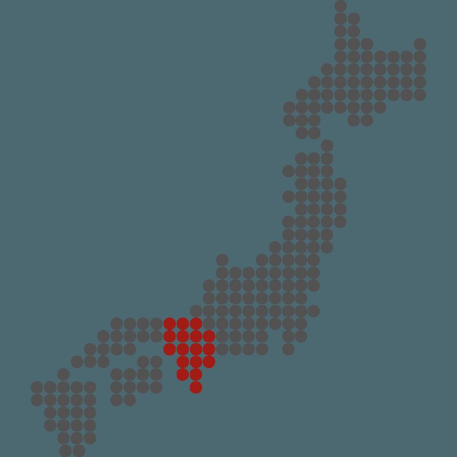 mappa del Giappone stilizzata con evidenziata Kansai