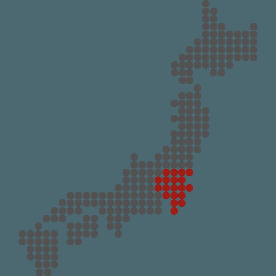 mappa del Giappone stilizzata con evidenziata Kanto
