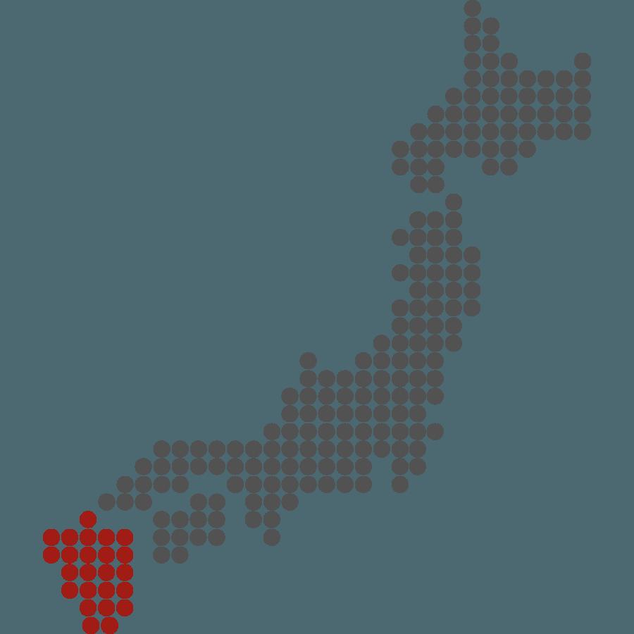 mappa del Giappone stilizzata con evidenziata Kyushu
