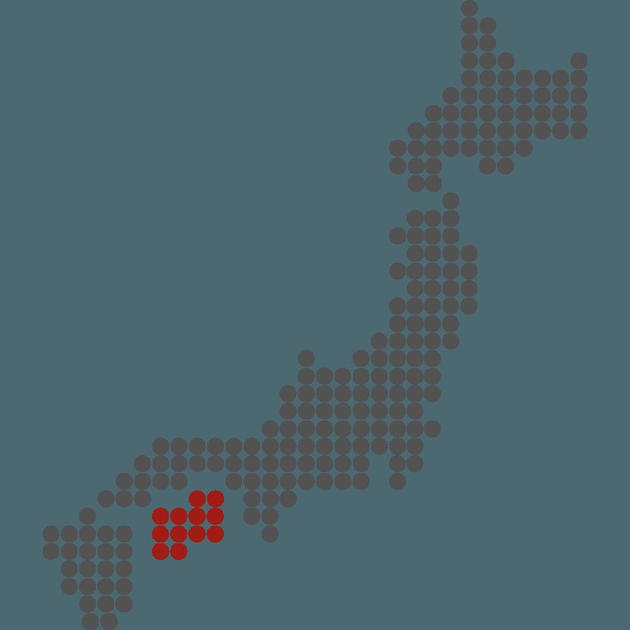 mappa del Giappone stilizzata con evidenziata Shikoku