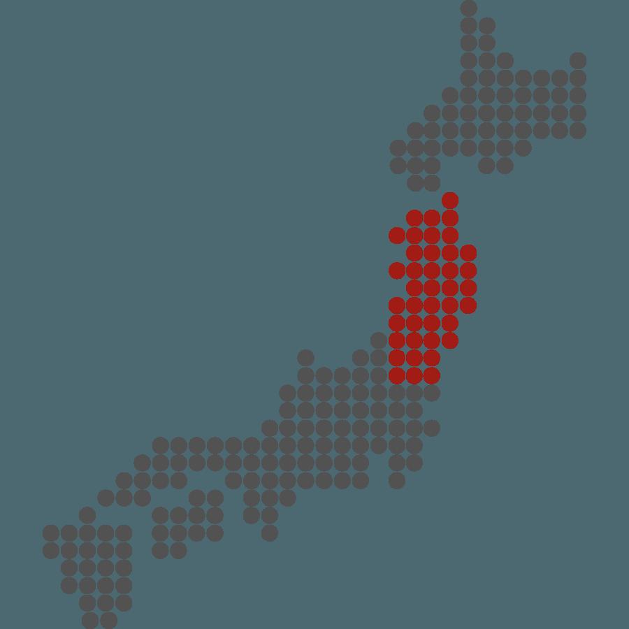 mappa del Giappone stilizzata con evidenziata Tohoku